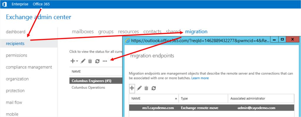 Office 365 Migration Preparation configure Migration Endpoints